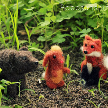 Miniature Animal YOU CHOOSE - Needle Felted Miniature Plush Art Doll or Ornament - Glass Eyes Wool Body - Tiny Woodland Animal