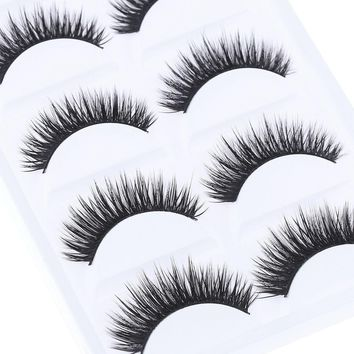 5 Pairs Sexy Fashion Women Pure Hand-made Black False Eyelashes Thick Long Voluminous Fake Lashes Makeup Beauty Tools Hot 2017