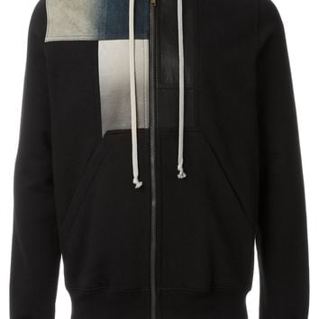 Zip Patch Hoodie in Black