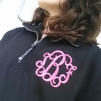 Monogram Navy Sweatshirt Quarter Zip  Font Shown INTERLOCKING in bubble gum pink