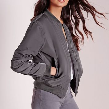 Missguided - Bomber Jacket Slate Grey