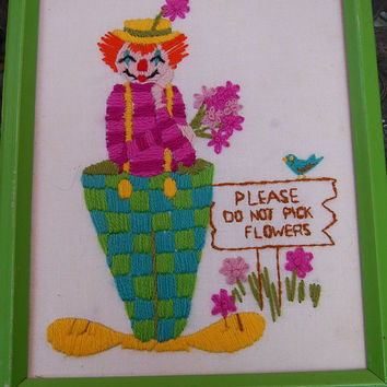 Vintage 60s Circus Clown Please Do Not Pick Flowers Hand Embroidered Framed Wall Art Hanging 10 x 13 Nursery Kids Childrens Room