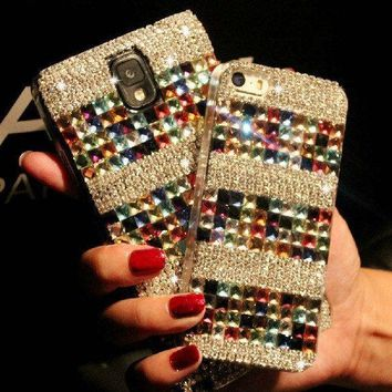 For Mobile Phone Sparkly Colorful Diamonds Bling Crystals Gems Hard Cover Case