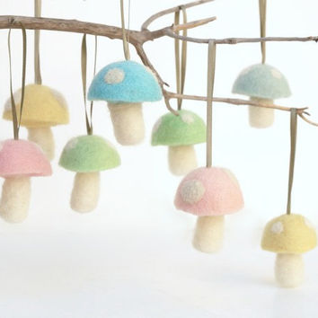 Pastel Christmas Ornaments 8 Wool Felt Mushroom Decorations Toadstool Woodland needle Waldorf Pink Fairytale Baby Nursery Home Decor