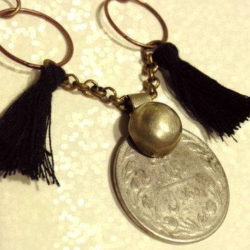 Coin Tassels Necklace. Black Tassels. Handmade Jewelry. Silver Afghan coin and brass button. Boho Tribal Belly Dance.