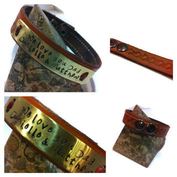 Hand-Tooled Leather Cuff with Customized Brass stamped plate, add your own inspirational quote