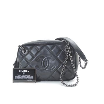Authentic CHANEL lambskin Silver WChainShoulder Bag Matelasse Shoulder Bag