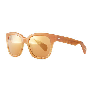 Brinley Mirror Square Sunglasses, Terra-Cotta/Peach - Oliver Peoples