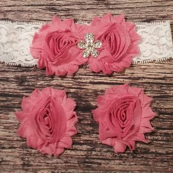 Dusty Rose and Crystal Flower Lace Baby Girl Headband and Barefoot Sandal Set