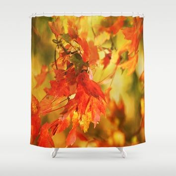 Red And Gold Gems Shower Curtain by Theresa Campbell D'August Art
