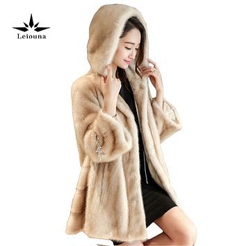 Leiouna Brown Natural Winter Women Faux Jacket Coats Hooded Mink Hair Fur Lined Female Slim Outerwear Casaco Parkas Woman