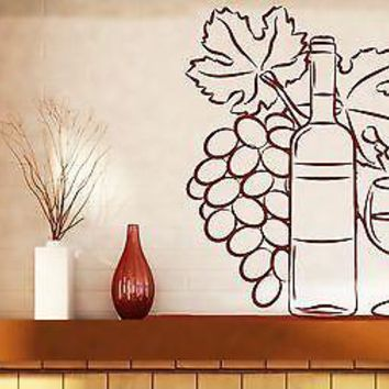 Wall Vinyl Sticker Wine Bottle Glass Bunch Grapes Decoration Kitchen Unique Gift (n091)