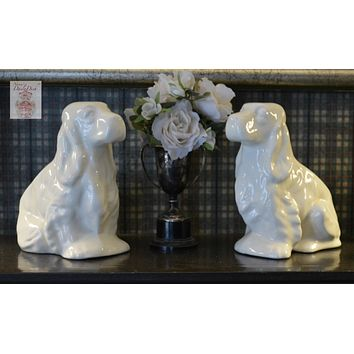Vintage Pair English Country Creamy White Spaniel Dog Planter / Flower Pots