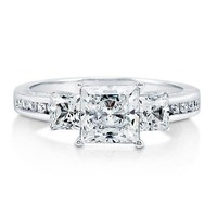 Princess Cubic Zirconia CZ 925 Sterling Silver 3-Stone Ring 2.37 Ct #r686