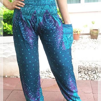 Cerulean Peacock Printed Yoga Pants Hippie Baggy Boho Styles Gypsy Thai Pantaloons Tribal Hipster Aladdin Clothing Beach Trousers Clothes