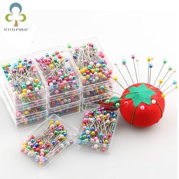 100pcs/box Mixed Color Round Pearl Head Dressmaking Pins Weddings Corsage Florists Sewing Pin WYQ