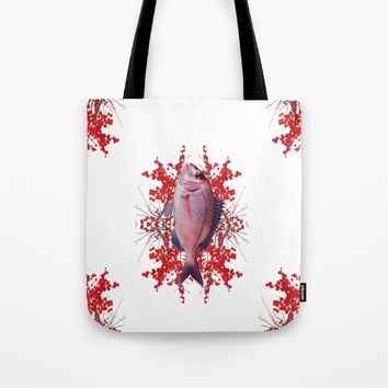 Red Berries Fish Tote Bag by Azima