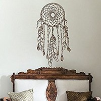 Dreamcatcher Art Dream Catcher Wall Decal Boho Feather Decor Night Symbol Boho Vinyl Decal Bohemian Bedding Decal Bedroom Nursery Decor S132