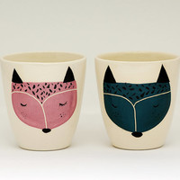 Set of 2 - Handmade ceramic cup - ceramic coffee cup - coffee mug - fox illustration - serveware - tableware - gift idea - MADE TO ORDER