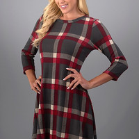 Pretty in Plaid Winter Dress - Red and Gray