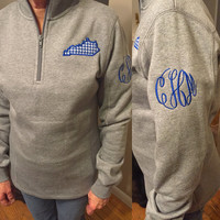 Kentucky monogram 1/4 zip pullover