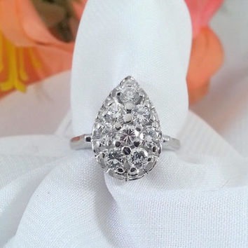 Vintage Diamond Cluster Ring Pear Shape Pave 1 Carat TW  1950s
