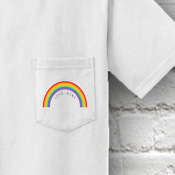 Love Wins, Gay Pride Pocket T-Shirt