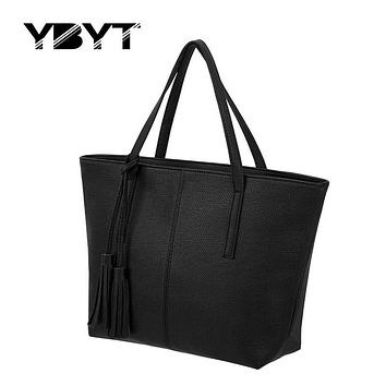 YBYT brand 2017 new joker leisure tassel totes women satchel large capacity ladeis shopping handbags medium simple shoulder bags
