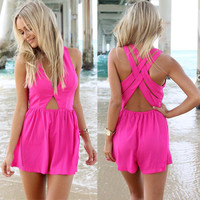 Fushia Cut-Out Romper