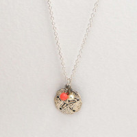 Sand Dollar Necklace- Silver and PInk