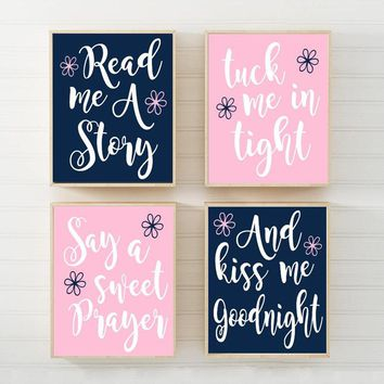 PINK NAVY Nursery Wall Art, CANVAS or Print Nursery Quote Decor, Read Me A Story, Kiss Me Goodnight, Rhyme Quote, Baby Crib Decor, Set of 4