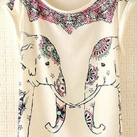 Cute Elephants Print Shirt with Flora Details TXV631 from topsales