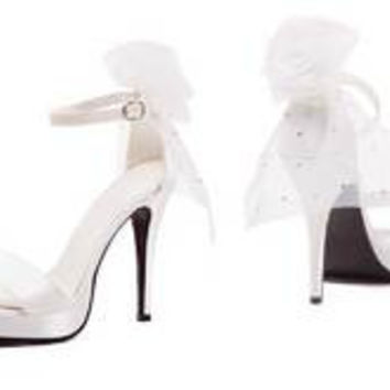 "Women's 4.5"" Heels Bride Sandal with veil on back of shoe"