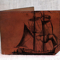 wallet leather wallet men wallet Pirate ship by backerton