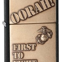 Zippo US Marines First to Fight Emblem Pocket Lighter, Black Crackle