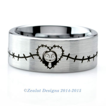 Nightmare Before Christmas Sally Wraparound Brushed Silver Pipe Cut Ring