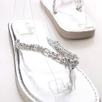 Silver Faux Leather Bead Woven Thong Strap Slip On Foam Sandals