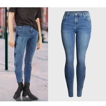 Embroidery Star Denim Full Length Skinny Jeans Pencil Pants High Waist Jeans