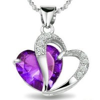 KATGI Fashion Amethyst Heart Shape Pendant Necklace