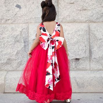 Lucinda Poppy Flower Big Bow Back Satin & Red Tulle Gown Dress
