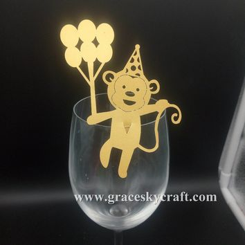 50pcs Free Shipping New monkey design laser Cut Place name Seat Invitation Cup Cards for Baby Shower Birthday party supplies