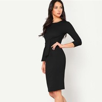 Elegant Bodycon Dress Women Pencil 3/4 Sleeve Clothes Ladies Solid Slim Sheath Party Dresses