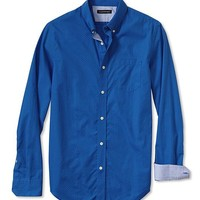 Tailored Slim-Fit Soft-Wash Squiggle Print Button-Down Shirt