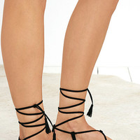 Beach Basics Black Flat Lace-Up Sandals