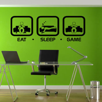 Eat Sleep Game Gaming Geek Nerd Gigaflops Joystick playing  Stickers Wall Decals Home Decor Wall Stickers Decor Nursery Sticker tr181