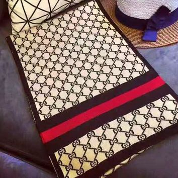 GUCCI fashion casual men's and women's scarf hot sales full print stripes contrast color scarf