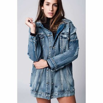 Oversized Distressed 90's Denim Jacket