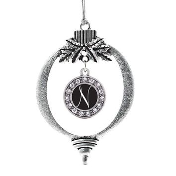 My Script Initials - Letter N Circle Charm Holiday Ornament