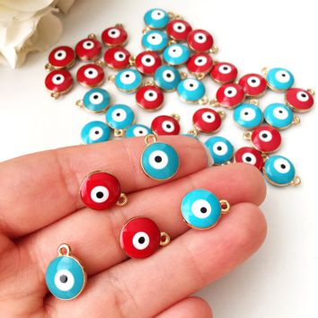 5 pcs Evil eye charm | evil eye charm for necklace | gold plated evil eye bead