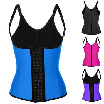 Hot Sale Women Waist Training Corset Sport Strap Adjustable Waist Trainer Latex Cincher Steel Boned  3 Hooks = 1930243396